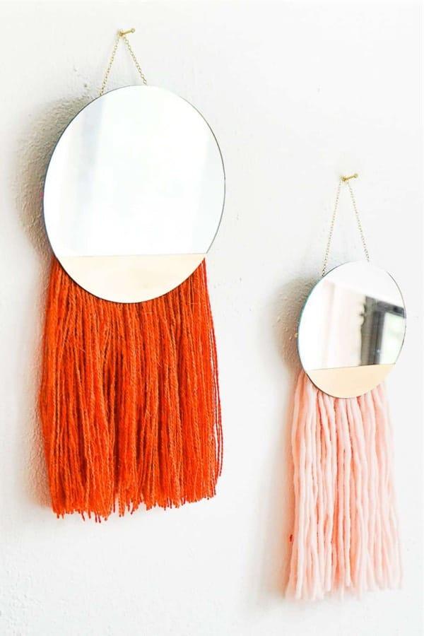 diy wall decor with yarn craft tutorial