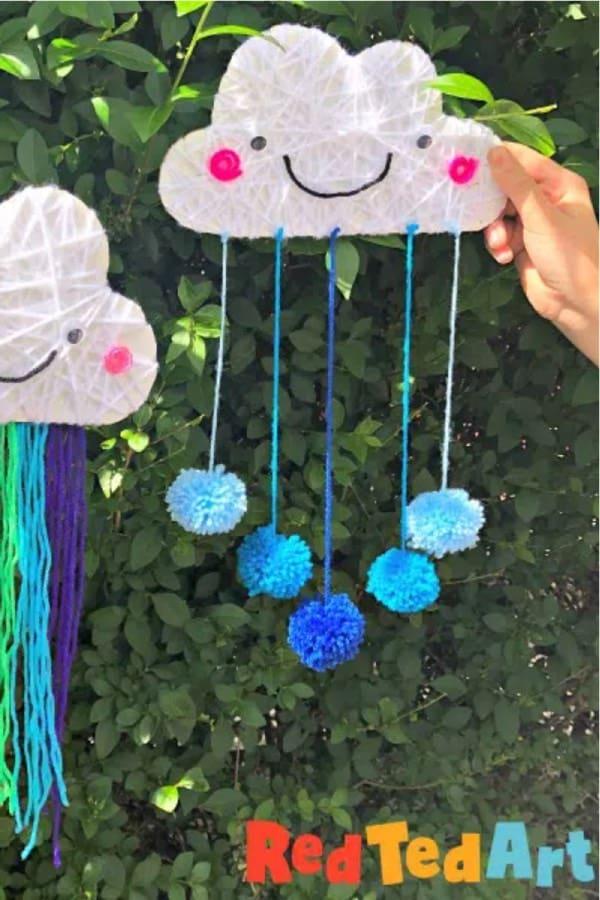 rainbow craft example with yarn