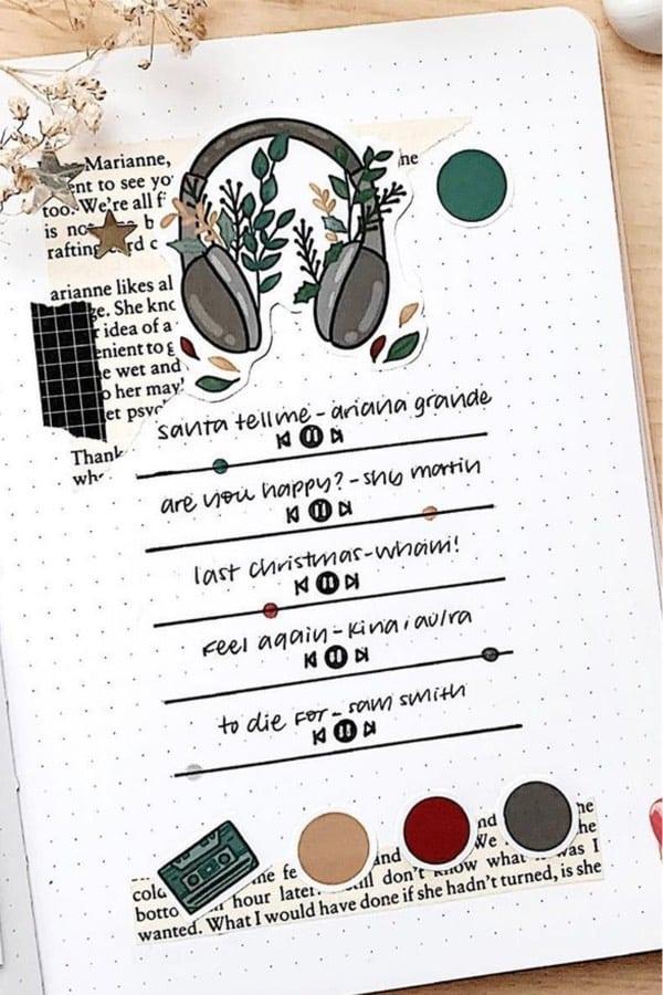 playlist bullet journal tracker for winter time