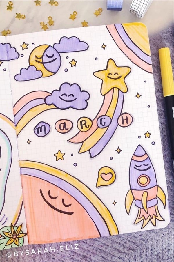 cloud doodles on bujo monthly cover
