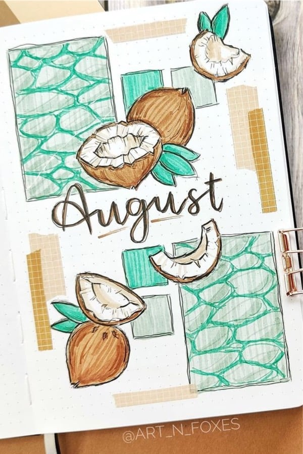 bullet journal cover inspiration with doodles